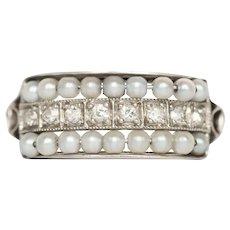 Circa 1920 Platinum .10cttw Single Cut Diamond and .25cttw White Luster Pearl Wedding Band-VEG#1402
