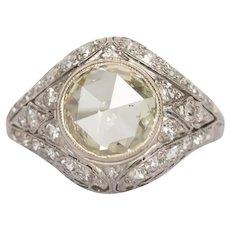 Circa 1910 Platinum 1.71 Rose Cut and .25cttw European Cut Diamonds Engagement Ring-VEG#1404