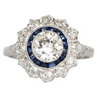 Circa 1920 GIA 1.05ct Old European Brilliant Diamond and .30cttw French Cut Sapphire Engagement Ring - VEG#1429