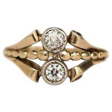 Circa 1905 14k Yellow Gold .40cttw Old European Brilliant Diamond Engagement Ring-VEG#142A
