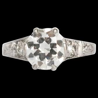 Circa 1910 GIA 1.41ct Circular Brilliant and .20cttw Old European Brilliant Diamonds Engagement Ring-VEG#1430