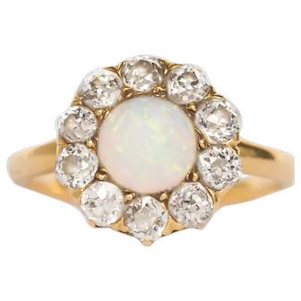 Circa 1900 14k 1.00ct Opal and .80cttw Cushion Diamond Engagement Ring-VEG#1434