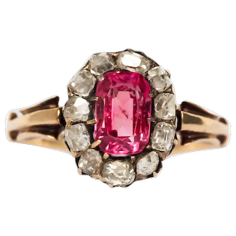 Circa 1880  14k 1.00ct Cushion Pink Spinel and .40cttw Cushion Cut Engagement Ring-VEG#1435