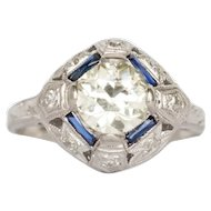 Circa 1920  1.05ct Old European Brilliant Diamond and .20cttw French Cut Sapphire Engagement Ring-VEG#1439
