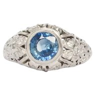 Circa 1910 Edwardian 900 Platinum 1.00ct Round Brilliant Sapphire and .30cttw Single Cut Diamond Engagement Ring -VEG#1444