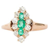 Circa 1890  14k Yellow Gold .15cttw Emerald and .25cttw Antique Cushion Engagement Ring-VEG#1446