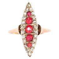 Circa 1890 14k Yellow Gold .40cttw Antique Cushion Ruby and .25cttw Rose Cut Diamonds Engagement Ring-VEG#1451