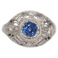 Circa 1910s  900 Platinum & 18K White Gold .50ct Old European Single Cut Sapphire and .10cttw Single Cut Diamond Engagement Ring - VEG #1452