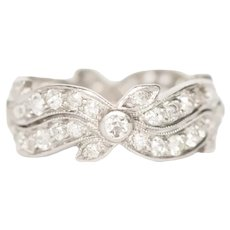 Circa 1920 Platinum .70cttw Old European Brilliant Diamonds Wedding Band-VEG#1464