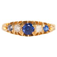 Circa 1910 18k Yellow Gold .10cttw Old European Brilliant and .20ct Old European Brilliant Sapphire Engagement Ring-VEG#1476