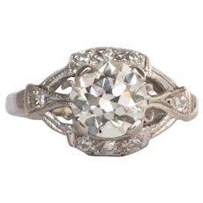 Circa 1930s Platinum .97ct Old European Brilliant Diamond Engagement Ring-VEG#1492
