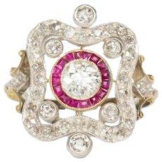 Circa 1920 Yellow Gold and Platinum GIA .50ct Old European Brilliant Engagement Ring-VEG#1493
