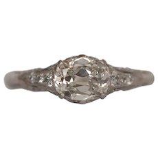 Circa 1910 900% Platinum GIA 1.02ct Cushion Cut Diamond Engagement Ring - VEG#1517