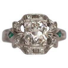 Circa 1920 900% Platinum .93ct Old European Brilliant Diamond Engagement Ring - VEG#1522