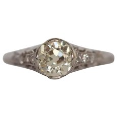 Circa 1910 900% Platinum .94ct Cushion Cut Diamond Engagement Ring - VEG#1523