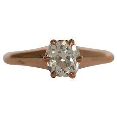 Circa 1890 14k Yellow Gold .98ct Cushion Diamond Engagement Ring - VEG#1524