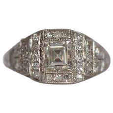 Circa 1920 900% Platinum 1.00ct Carre Cut Diamond Engagement Ring - VEG#1526