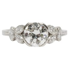 Circa 1930 900% Platinum GIA 1.35ct Old European Brilliant Diamond Engagement Ring - VEG#1527