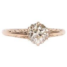 Circa 1890 10K Rose Gold GIA 1.06ct Old European Brilliant Diamond Engagement Ring - VEG#1528