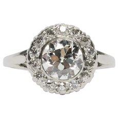 Circa 1930 900% Platinum GIA 1.21ct Old European Brilliant Diamond Engagement Ring - VEG#1529