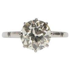Circa 1910 900% Platinum GIA 2.92ct Old European Brilliant Engagement Ring - VEG#1530