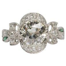 Circa 1930 900% Platinum GIA 1.60ct Old European Brilliant Diamond Engagement Ring - VEG#1531