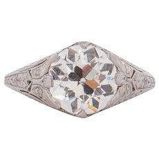 Circa 1910 900% Platinum GIA 2.01ct Old European Brilliant CD Peacock Diamond Engagement Ring - VEG#1532