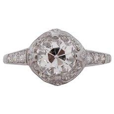 Circa 1920 900% Platinum GIA 1.30ct Old European Brilliant Diamond Engagement Ring - VEG#1533