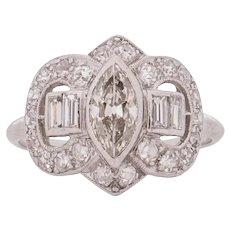 Circa 1930 900% Platinum .50ct Marquise Diamond Engagement Ring - VEG#1535