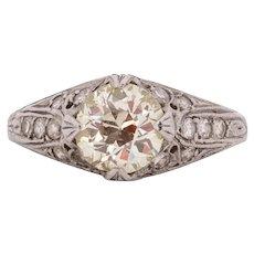 Circa 1920 900% Platinum 1.40ct Old European Brilliant Diamond Engagement Ring - VEG#1536