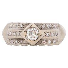 Circa 1940  14K White Gold .50cttw Transitional Round Diamond Engagement Ring - VEG#1539