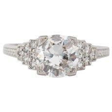 Circa 1920s WK&Co 900% Platinum GIA 1.22ct Old European Engagement Ring - VEG#1540