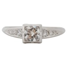 Circa 1920 900% Platinum .40ct Old European Brilliant Diamond Engagement Ring - VEG#1541
