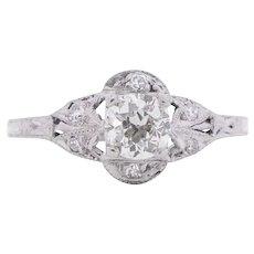 Circa 1920 900% Platinum GIA .40ct Old European Brilliant Diamond Engagement Ring - VEG#1544