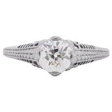 Circa 1910 900% Platinum 1.05ct Old European Brilliant Diamond Engagement Ring - VEG#1545