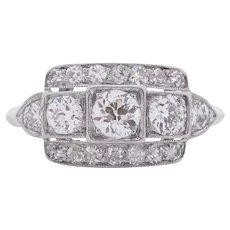 Circa 1930 900% Platinum .75ct Old European Brilliant Diamond Engagement Ring - VEG#1546