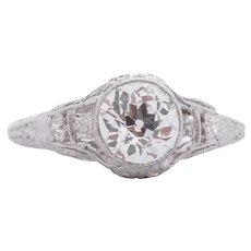 Circa 1910 900% Platinum GIA Certified .90ct Old European Brilliant Diamond Engagement Ring - VEG#1547