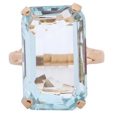 Circa 1950 14K Yellow Gold 17.16ct Elongated Radiant Engagement Ring - VEG#1548