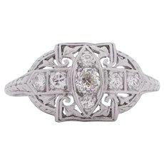 Circa 1920 900% Platinum .25cttw Old European Brilliant Diamond Engagement Ring - VEG#1549