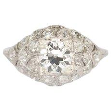 Circa 1920 Platinum GIA 1.00ct Old European Brilliant Diamond Engagement Ring-VEG#165