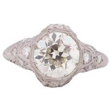 Circa 1910 900% Platinum GIA Certified 2.13ct Old European Brilliant Diamond Engagement Ring - VEG#1700