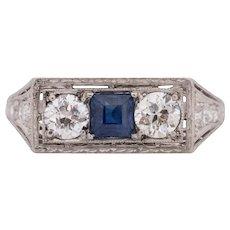 Circa 1920 900% Platinum .75cttw Old European Brilliant Diamond Engagement Ring - VEG#1701