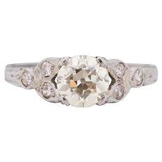Circa 1930 18K White Gold 1.12ct Old European Brilliant Diamond Engagement Ring - VEG#1702