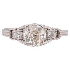 Circa 1920 900% Platinum GIA Certified .96ct Cushion Diamond Engagement Ring - VEG#1704