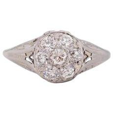 Circa 1920 900% Platinum Head & 14K White Gold Shank .70cttw Old European Brilliant Diamond Engagement Ring - VEG#1705