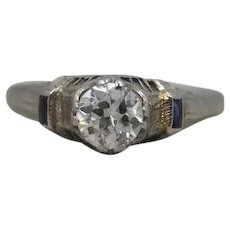 14K White Gold Engagement Ring with .70ct Old European Cut Diamond and Sapphires from 1924 VEG #23