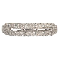 Circa 1920 Platinum .20cttw Old Single Cut Diamond Wedding Band-VEG#262A