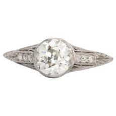 Circa 1920 Platinum GIA .75ct Old European Brilliant Engagement Ring-VEG#372A