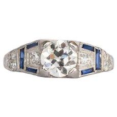 Circa 1920 Platinum GIA .69ct Old European Brilliant Diamond Engagement Ring-VEG#387B