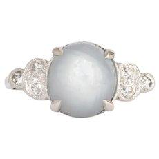 Circa 1930 Platinum 3.00cttw Oval Cabochon Star Sapphire Engagement Ring-VEG#397A